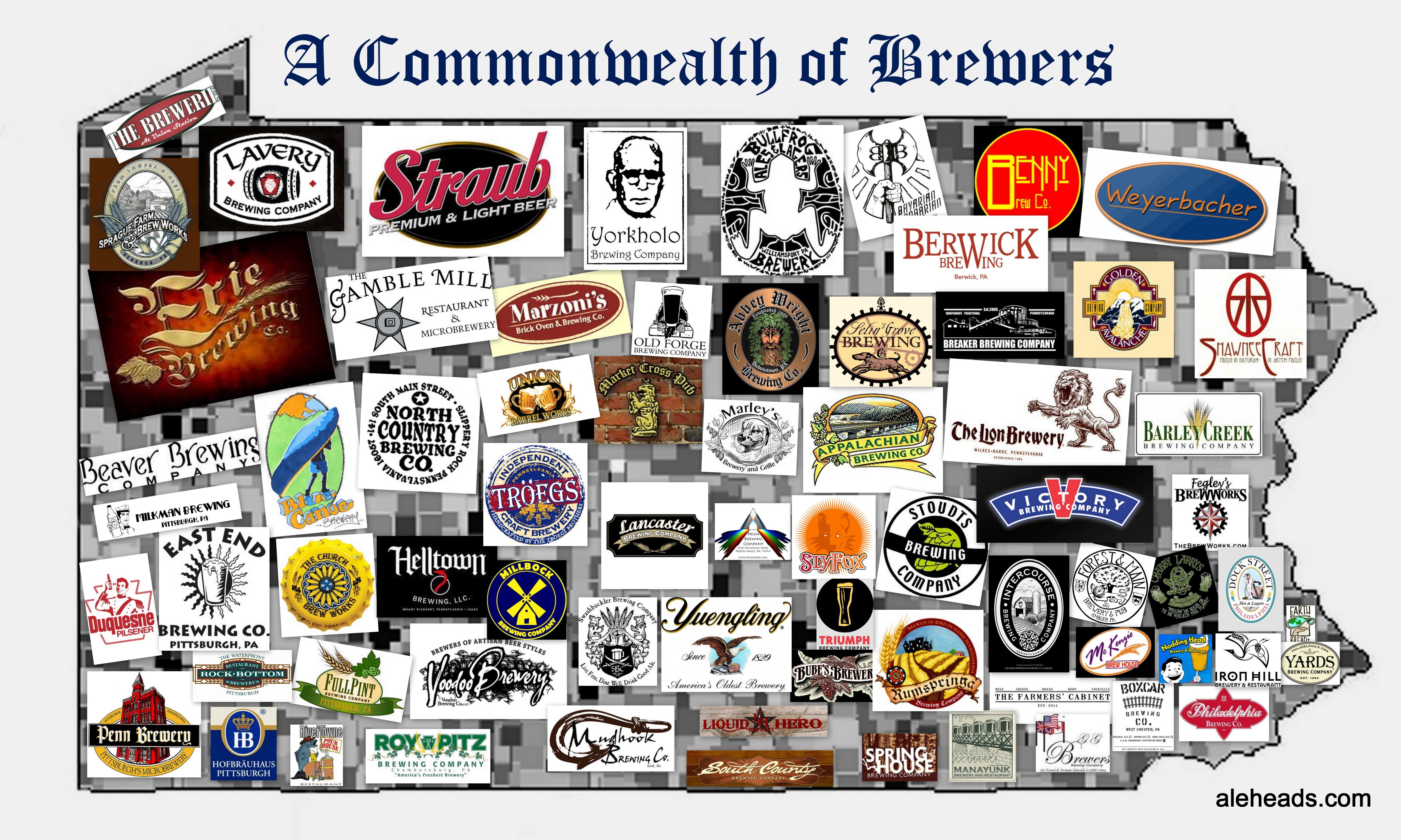 PENNSYLVANIA: A COMMONWEALTH OF BREWERS MAP | ALEHEADS