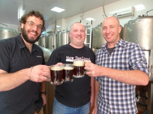 Michael Jordan from Boxing Cat (NZ Hops shirt), flanked by Leon Mickelson of The BREW (Plaid shirt) and Teddy Gowan from Dr Beer (epic beard) celebrating their collaboration brew, Porky's Revenge Imperial Pilsner during Shanghai Beer Week.